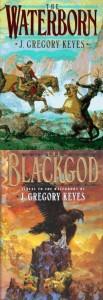"""Cover der Bücher """"The Waterborn"""" und """"The Blackgod"""" von Greg Keyes"""
